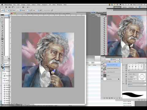 7   Mark Twain Digital Caricature Painting Demo (Final Glazing with Texture Overlays)