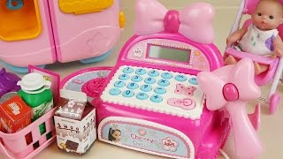 Pink Mart register and Baby doll refrigerator toys play