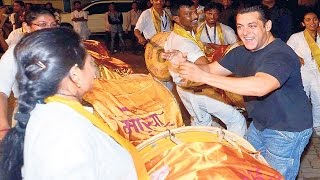 Salman Khan Ganpati Visarjan 2015 FULL VIDEO Salman Khan DANCES on Dhol