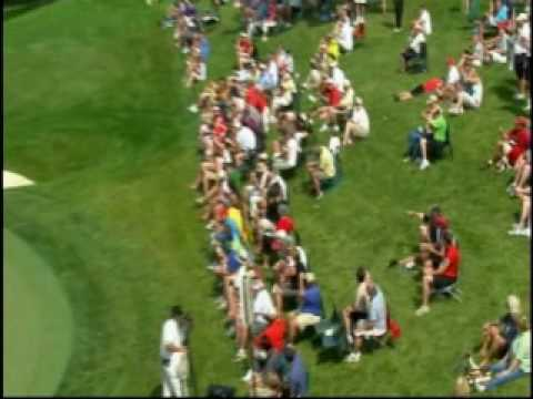 Stewart Cink tags guy in the head at the 2009 Memorial Golf Tournament. Too funny. Video
