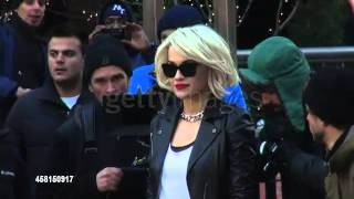Rita Ora on location for a commercial shoot in Manhattan in New York City