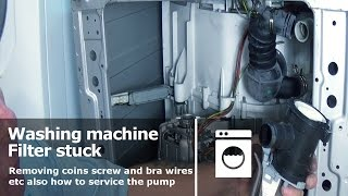 Washing machine Pump Filter stuck wont open Jammed removing coins screw and bra wires etc