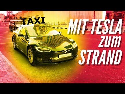 MIT TESLA TAXI  ZUM STRAND 2018 Vlog 10 german