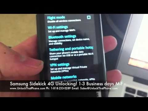 How to Unlock Samsung Sidekick 4G with Code + Full Unlocking Tutorial!! tmobile at&t bell o2 rogers