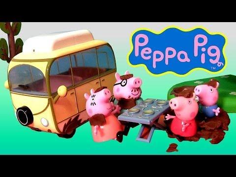 Peppa Pig Campervan Muddy Puddles Playset Play Doh Daddy Pig Mummy Pig George Nickelodeon