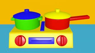 Learn colors with toy kitchen set vegetables sausages chicken learn english words