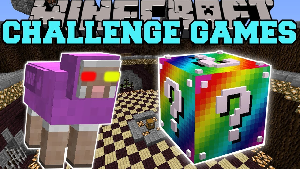 Minecraft:  MR. RAINBOW CHALLENGE GAMES - Lucky Block Mod - Modded Mini-Game
