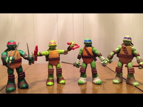 This is my review of the Teenage Mutant Ninja Turtles Battle Shell Turtles. These figures have the gimmick of their shells opening to store extra weapons. Ea...
