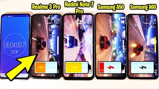 Realme 3 Pro vs Redmi Note 7 Pro vs Samsung Galaxy A50 vs Samsung Galaxy A60 Battery Test
