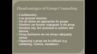 disadvantages of counselling The only disadvantages of counselling is if the client is not receptive to the treatment.