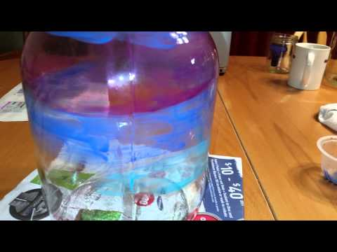 Painting a sunset on a glass jug, part 1