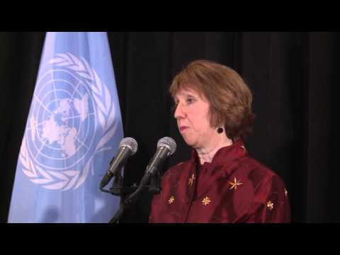 Catherine Ashton press point after meeting Iran Foreign Minister Mohammed Javad Zarif
