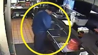 DISGUSTING CCTV  Pizza Hut Employee Caught Peeing in SINK Pizza Hut Employee Urinating in Sink