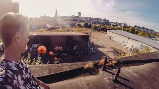 BASKETBALL TRICKS IN ABANDONED WAREHOUSE!