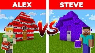 MINECRAFT - ALEX vs STEVE! NETHER PORTAL HOUSE vs TNT HOUSE / Minecraft Animation part 6