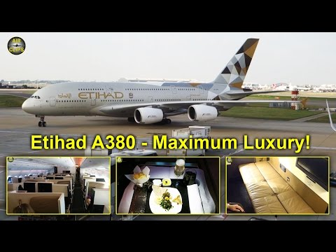 Etihad A380: Business Class, First Class APARTMENT & SHOWER views [AirClips full flight series]