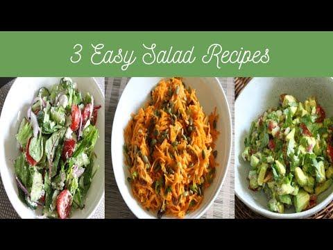 3 Easy Salad recipes - Tossed Green Feta Salad, Carrot Salad, Chunky Guacamole