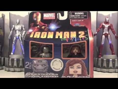 Iron Man 2 Minimates Black Widow & James Rhodes Mark II Armor Two Pack Toys R Us Exclusive Review Video
