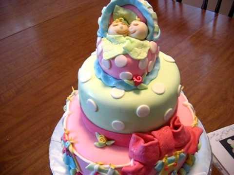 Fondant Baby Shower Cake - YouTube