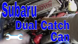 Dual oil catch can setup install part1 how-to WRX STi Subaru Impreza PCV and crankcase vents EBay
