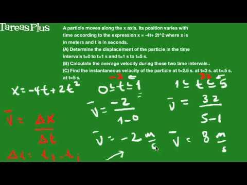 Problema de velocidad instantánea conocida la posición de la partcula en términos de t