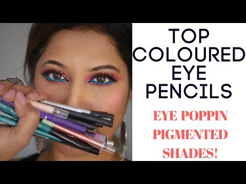 TOP COLOURED CREAMIEST LONG LASTING EYE PENCILS |MOST USED BRANDS REVIEW+SWATCHES AFFORDABLE HIGHEND
