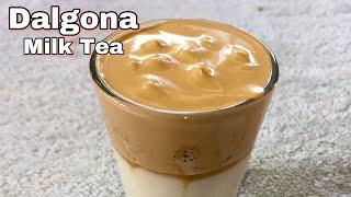 Dalgona Coffee with a twist   Dalgona Milk Tea    No mixer
