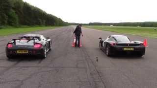Ferrari Enzo vs Porsche Carrera GT @ Hypermax..The Ultimate Drag Race !