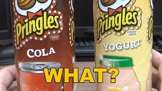 Pringles Cola and Yogurt flavors, very strange