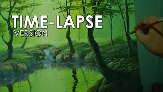 Time-lapse Acrylic Painting Demo - The Forest River by JM Lisondra