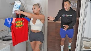 SPILLED BLEACH on my BOYFRIEND'S GUCCI SHIRT PRANK!! *cute reaction*