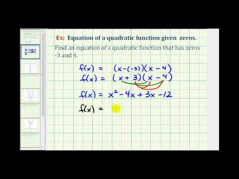 Ex 1:  Find a Quadratic Function With Integer Zeros