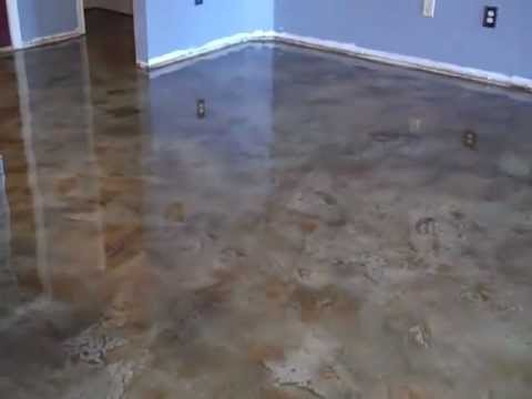 Acid Stained Look Decorative Concrete Overlay Kitchen