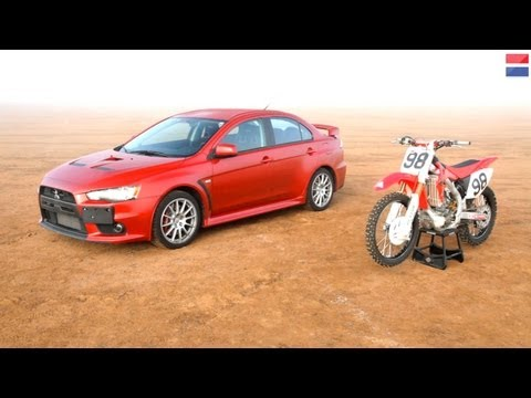 2013 Mitsubishi Lancer Evolution GSR vs. 2010 Honda CRF450R - CAR and DRIVER