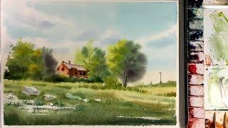 Watercolor Landscape Painting - Wet-on-Wet Technique