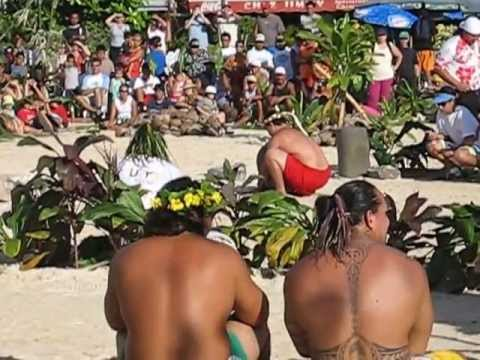 Stone lifting at the Heiva Traditional Sports competition, Tahiti
