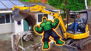 Total Demolition of 1970 Backyard Patio with Caterpillar Excavator