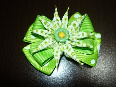 Manualidades y accesorios la hormiga.  como hacer una hermosa flor en cintas. video No.024