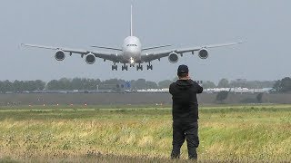 AIRBUS A380 CROSSWIND LANDING + 2 GO AROUNDS during a STORM at Amsterdam (4K)