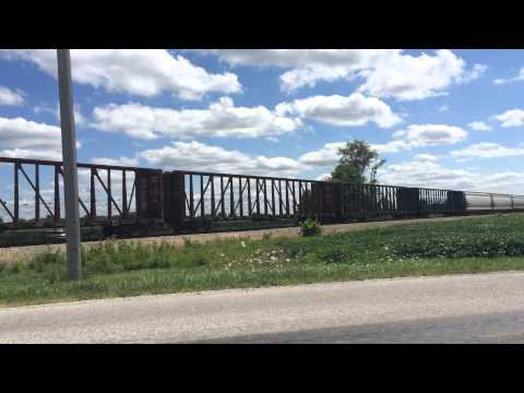 Canadian National Mixed Freight Train in Central Illinois on July 23 2014