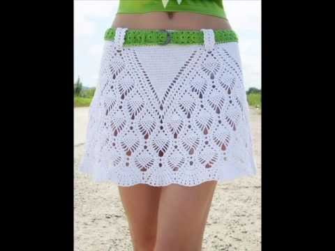 Free Crochet Pattern Ladies Skirts : how to crochet summer beach skirt free pattern - YouTube