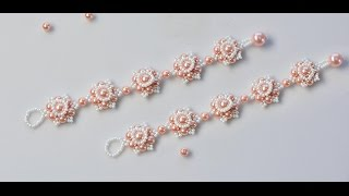 PandaHall Video Tutorial on How to Make Flower Bracelet with Pearl Beads and Seed Beads