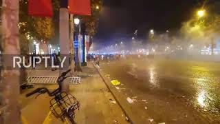 France: Police unleash water cannon as WC celebrations get out of control