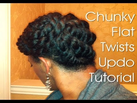 (19) Natural Hair Protective Style ~ Chunky Flat Twists Updo