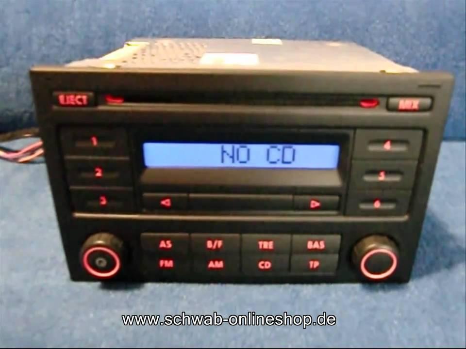 vw rcd 200 radio autoradio carradio car 6q0035152b volkswagen codeeingabe safe youtube. Black Bedroom Furniture Sets. Home Design Ideas