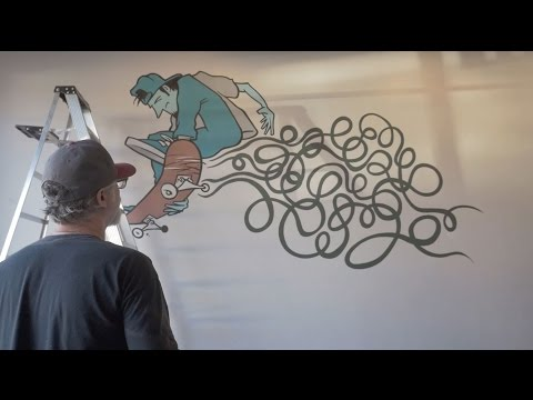 Andy Jenkins Live Mural at the Banks LA for Lakai Echelon
