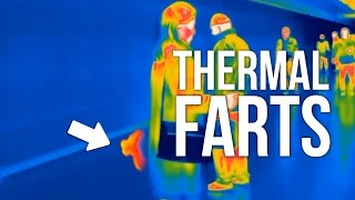 People secretly farting in public (Thermal camera)