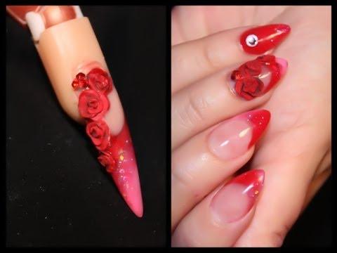 Uñas 3D Rosas Rojas- Red Rose Nail Design