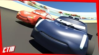 CARS 3 RACE Jackson STORM vs Lightning MCQUEEN LEGO movie with Frozen Elsa Olaf MATER EPIC