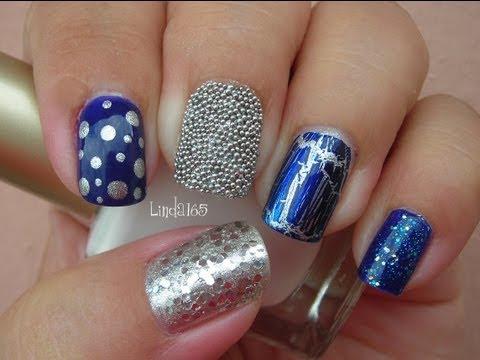 Nail Art - Eclectic Blue Mix & Match Manicure